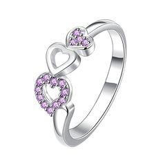 Trio-Heart Drop Down Purple Jewels Petite Ring Size Women's