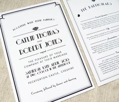 art deco style estelle wedding invitation by project pretty   notonthehighstreet.com really like this idea of invitation