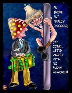 Funny Divorce Party Invitation for guys  I'm broke by SandysLocker, $1.25