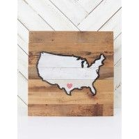 """This artwork is a most have! The outline of USA with a heart on your state will make for the perfect house décor or gift to a friend!   - 14"""" H x 14"""" W x 1 1/2"""" D"""