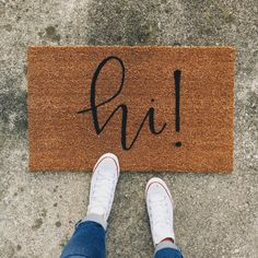 hi welcome mat hand painted custom doormat by OlivePaperCompany