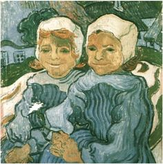 Two Children Vincent van Gogh painted two, nearly identical, paintings of these children Painting, Oil on Canvas Auvers-sur-Oise: June, 1890 #vangogh #repetitions