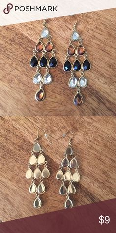 """Statement chandelier earrings Ombré style chandelier earrings. Measures 3"""" x 1"""". Lots of movement. Retail $25 Jewelry Earrings"""