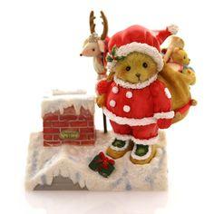 Cherished Teddies Santa Bear On Rooftop Christmas Figurine