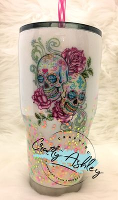 Arts And Crafts Ideas For Toddlers Product Diy Tumblers, Custom Tumblers, Glitter Tumblers, Cute Cups, Fun Cup, Sugar Skull Decor, Sugar Skulls, Tumblr Cup, Cup Crafts