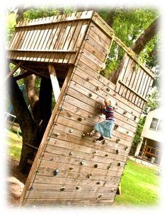 i would love to add a rock climbing wall to our existing tree house