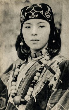 Ainu, early 20th century, Hokkaido, Japan.....Ainu are a Japanese indigenous people. They may have made Jomon culture in ancient Japan.