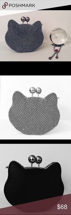 Cat 2 toned cocktail purse ❤️ Here kitty kitty  Love the contrast. Small in size but will hold the essentials for a special night out. LEAVE THE CELL PHONE AT HOME AND ENJOY YOUR EVENING . I highly recommend it! ❤️ Bags