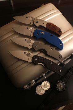 Spyderco Sages... Sage4 Folding  Arizonian Ironwood; Sage 3, Dark Blue G10; Sage 2, Titanium; Sage, Carbon Fiber