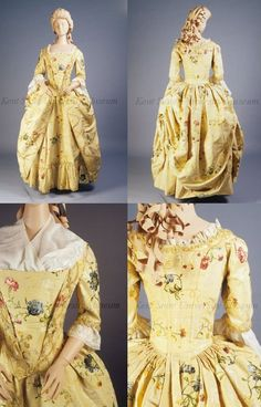Robe a l'anglaise and petticoat, ca 1770 England, Kent State. http://oldrags.tumblr.com/post/11095300551/robe-a-langlaise-and-petticoat-ca-1770-england