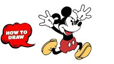 mickey mouse draw step easy drawings drawing line disney characters mick tutorials