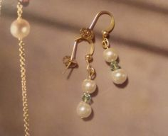 Ivory Pearl and Mint Crystal Earrings by CorrettiDesigns on Etsy, $7.00
