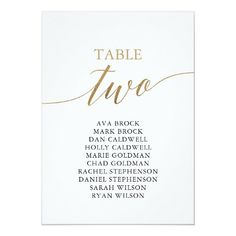 Elegant Gold Table Number 2 Seating Chart Engagement Party Invitations, Simple Wedding Invitations, Elegant Invitations, Wedding Invitation Cards, Wedding Programs, Custom Invitations, Wedding Signs, Invite, Seating Chart Wedding