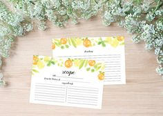 Citrus watercolor recipe cards, perfect for a bridal shower or as a gift - by Watercolor Paperie on Etsy