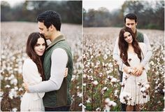 Romantic Engagement Photos in Cotton Field. Franklin, TN #FallEngagementPhotos #FilmPhotography #Contax645
