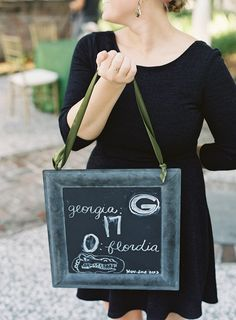 When your wedding falls on a 'big game day' have someone walk around with score updates to keep guests off their phones! See the wedding on http://www.StyleMePretty.com/2014/03/26/emerald-green-wedding-at-william-aiken-house/ #SMP - Virgil Bunao Fine Arts Photography - virgilbunao.com