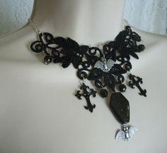 Vampire Bat Gothic Choker Necklace, gothic jewelry victorian jewelry fantasy jewelry gypsy renaissance medieval edwardian goth rockabilly