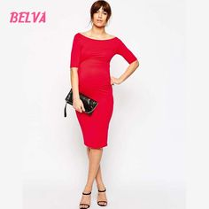34.53$  Watch here - Belva Women's Maternity Pencil Jersey off shoulder Casual Dress 95% bamboo 5% Spandex High Quality pregnant woman clothes  #aliexpressideas