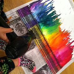 Crayon Art! Take a canvas and glue crayons in a pattern. Next take a blow dryer (on the hot setting) and blow it across all the crayon until the start to melt and drip down the canvas! Now let it dry for about 10 minutes and it's done!!!