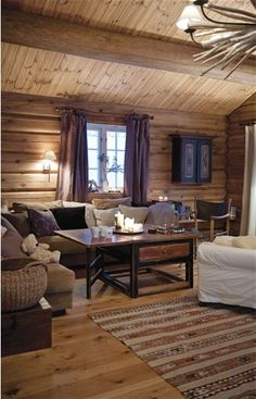 Log Cabin Living, Log Cabin Homes, Log Home Interiors, Cottage Interiors, Simply Home, Cozy House, Family Room, Sweet Home, House Design