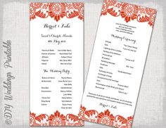 Wedding program template instant download by diyweddingsprintable, $8.00