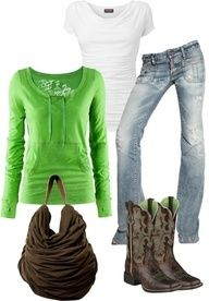 Green? Cute and comfy? Cowboy boots? Loving it all!