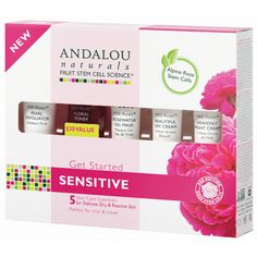 Andalou Naturals 1000 Roses Get Started Kit with rosewater and rose essential oil evoke sensual and euphoric enhancing qualities with harmonizing constituents t Aloe Vera, Hibiscus Sabdariffa, Sans Gluten Vegan, Skin Nutrition, Rose Stem, Gel Mask, Jojoba, Rose Essential Oil, Travel Kits