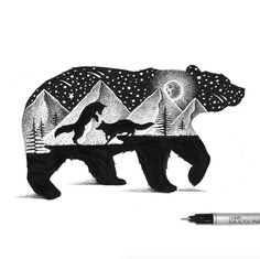 My name is Thiago Bianchini and I am an illustrator and graphic designer. Two years ago I started creating this series of illustrations using fine-tipped ink pens. Inspired by double exposure photography, I brought this universe to my drawing world. Art And Illustration, Illustrations, Art D'ours, Ink Art, Art Sketches, Art Drawings, Animal Drawings, Stippling Art, Bear Art