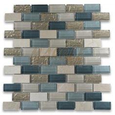 Gray Blue Beige Light Brown Glass Mix Crema Marfil Marble 1x2 Brick Mosaic Tile