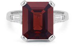 ApplesofGold.com - 5 Carat Emerald-Cut Garnet and Baguette Diamond Ring, 14K White Gold