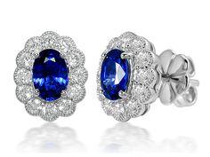 Elegant Blue Sapphire & Diamond White Gold hallmarked Oval studs by StartJewellery on Etsy Sapphire Diamond, Blue Sapphire, Fine Jewelry, Unique Jewelry, Jewellery, Sterling Sliver, Studs, White Gold, Elegant