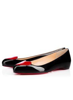 2ebbd64206b9 CHRISTIAN LOUBOUTIN Patent Doracora Flats 41.5 Ballerina black red