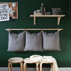 Ikeahack DIY Hanging Pillows and Frosta Bench Ikea Bar, Frosta Ikea, Ikea 2015, Ikea Stool, Ikea Furniture, Home Decor Inspiration, Colour Inspiration, Home Decor Bedroom, Home Organization