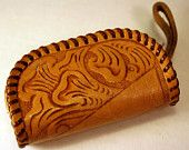 Vintage Coin Purse, Hand Tooled Leather, Faux Fur Lining
