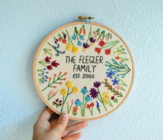 Floral Baby Name Art Embroidery Hoop Custom Name Sign Wildflower Nursery Art Personalized Nursery Decor Baby Shower Gift Laurel Branch Embroidery Hoop Crafts, Crewel Embroidery, Cross Stitch Embroidery, Embroidery Patterns, Wedding Embroidery, Flower Embroidery, Embroidery Thread, Eyebrow Embroidery, Embroidery Tattoo