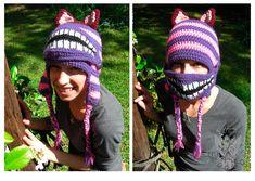 Cheshire Cat Mask Hat by SunniStudios on Etsy Crochet Mask, Crochet Beanie, Crochet Gifts, Diy Crochet, Crochet Character Hats, Knitting Patterns, Crochet Patterns, Fox Scarf, Crochet Hood