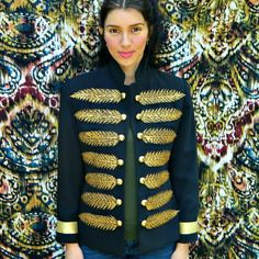 Upstyle an old blazer to make this beautiful military style jacket with very little sewing!