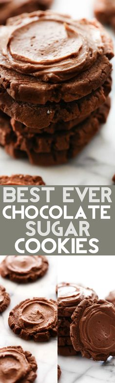 "These Chocolate Sugar Cookies are truly THE BEST EVER! They are inspired by my favorite ""Dirtball Cookie"" at a drink stop called Swig. They…"