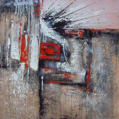 obraz na plátne, olejomaľba, maľba, obraz do bytu, moderné obraz, ručne maľovaný obraz, abstrakcie, červená, sivá, biela, čierna
