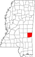 """Map of Mississippi highlighting Clarke County - John Calhoun Brashier (1857-1936) lived his whole life here.  The """"Brashier"""" towns are Quitman & Shubuta."""