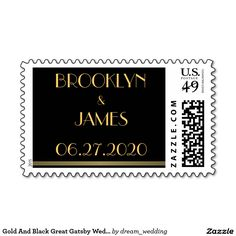 Gold And Black Great Gatsby Wedding Stamps