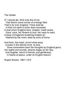 critical analysis of the soldier by rupert brooke The fish: rupert brooke - summary and critical analysis the fish is a delightful descriptive piece of poem by rupert brooke poets have often projected themselves.