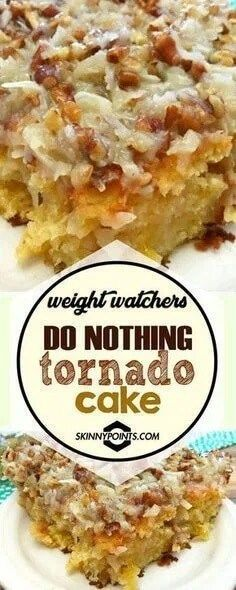CakeDo Nothing Tornado Cake Strawberry Poke Cake is made with white cake, soaked with a mixture of white chocolate strawberry sauce, topped with strawberry pie filling and creamy whipped cream. Do Nothing Tornado Cake Weight Watchers Desserts, Weight Watchers Diet, Ww Desserts, Weight Loss Snacks, Healthy Desserts, Healthy Fruits, Delicious Desserts, Healthy Recipes, Holiday Desserts