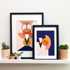 These prints were inspired by geometric shapes, just playing around with composition and colour.  They are digitally printed.