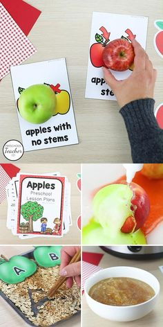 Explore real apples and incorporate reading, math, science and more with this 260-page preschool apple theme lesson plan set & apple life cycle activities.