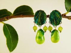 Pear earrings green jade tissue  pear handmade earrings