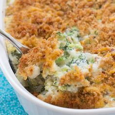 Made completely from scratch, this broccoli casserole is filled with fresh broccoli, mushrooms, cheddar cheese, and a homemade cream sauce. A buttery, cheesy breadcrumb topping adds a crispy finishing touch to this classic dish.