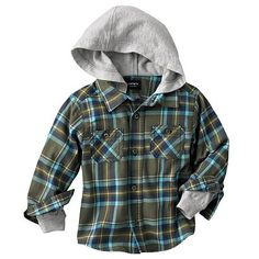 Carter's Mock-Layer Plaid Flannel Hooded Shirt - so cute!!!