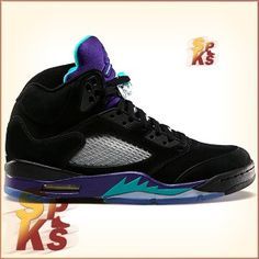 5afa9d210ed42e Air Jordan 5 (V) Retro Black Grapes Black   New Emerald-Grape Ice-Black  136027-007