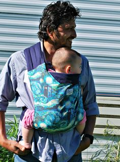 Doctor Who TARDIS and van Gogh Starry Night on Navy Blue Mei tai baby carrier sling, reversible, cotton on Etsy, $70.00